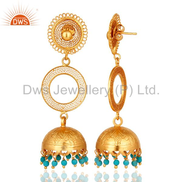 Exporter 14K Gold Plated Sterling Silver Turquoise Long Dangle Jhumka Earrings