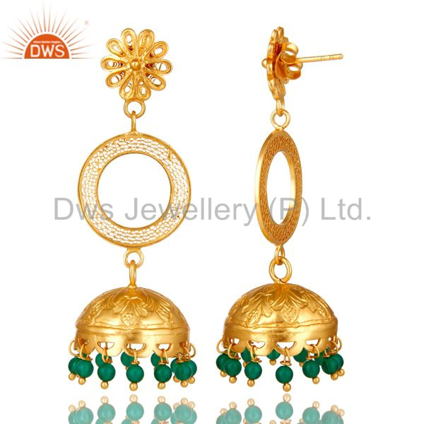 Exporter 18K Yellow Gold Plated Sterling Silver Green Onyx Designer Jhumka Earrings