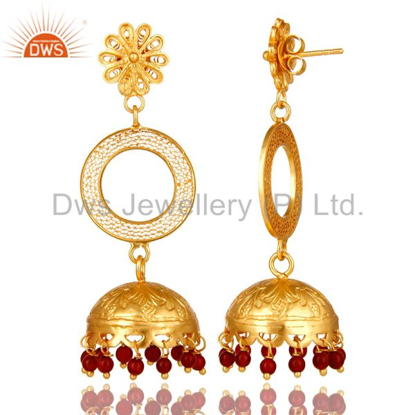Exporter 18K Yellow Gold Plated Sterling Silver Red Onyx Ethnic Designer Jhumka Earrings