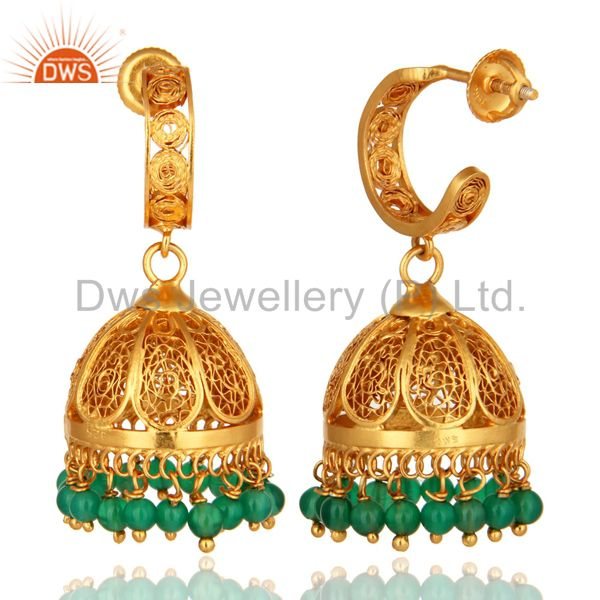 Exporter 925 Sterling Silver Green Onyx Jhumka Earrings With 18K Gold Plated
