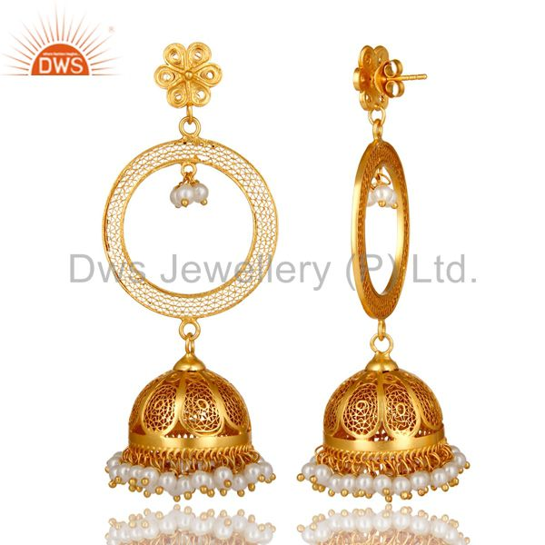 Exporter 18K Yellow Gold Plated Sterling Silver Natural Pearl Designer Jhumka Earrings