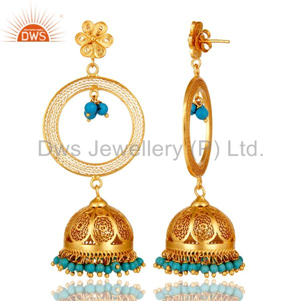 Exporter 24K Yellow Gold Plated Sterling Silver Turquoise Ethnic Designer Jhumka Earrings