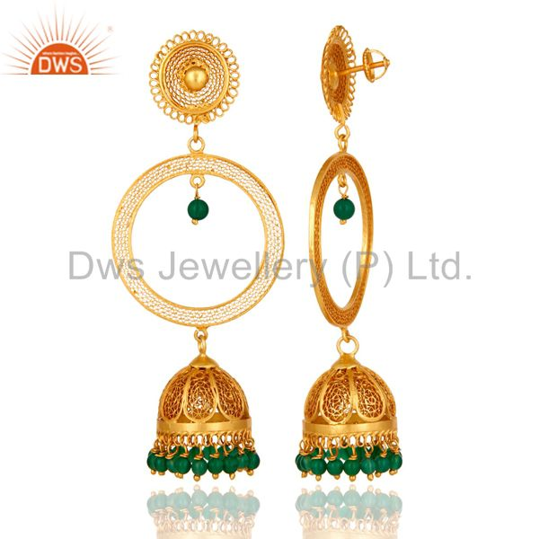 Exporter Gold Plated Sterling Silver Green Onyx Unique Traditional Design Jhumka Earrings