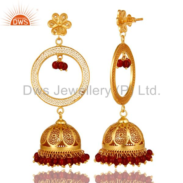 Exporter 14K Yellow Gold Plated Sterling Silver Red Onyx Traditional Jhumka Earrings