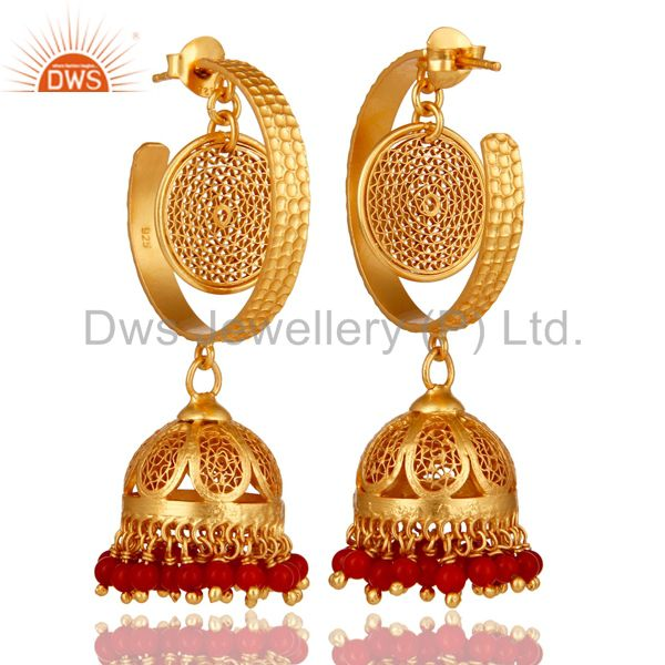 Exporter 14K Yellow Gold Plated Sterling Silver Designer Jhumka Earrings With Red Coral