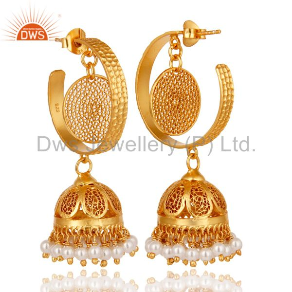 Exporter 14K Yellow Gold Plated Sterling Silver Designer Jhumka Earrings With White Pearl