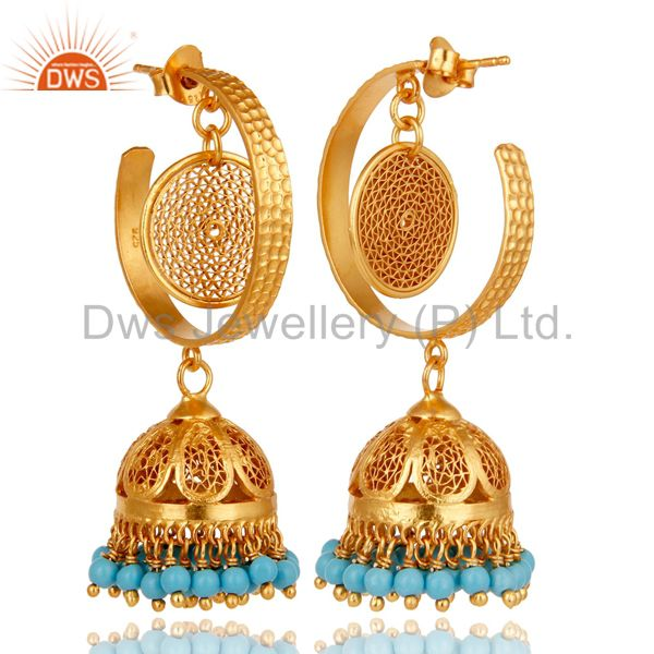 Exporter 14K Yellow Gold Plated Sterling Silver Designer Jhumka Earrings With Turquoise