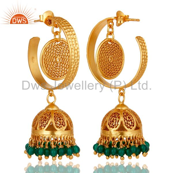 Exporter 14K Yellow Gold Plated Sterling Silver Designer Jhumka Earrings With Green Onyx