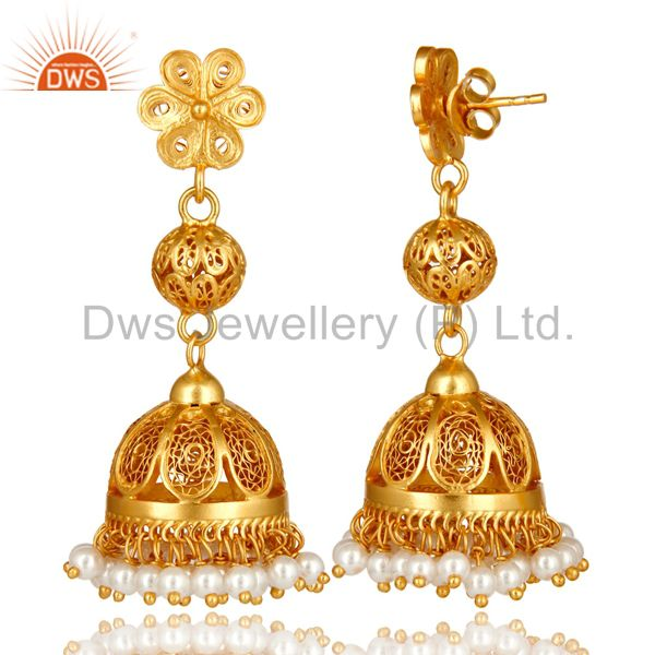 Exporter 18K Yellow Gold Plated Sterling Silver White Pearl Designer Long Jhumka Earrings