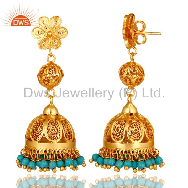Exporter 22K Yellow Gold Plated Sterling Silver Turquoise Indian Designer Jhumka Earrings