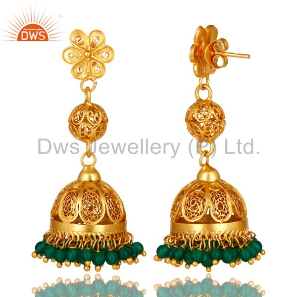 Exporter 14K Yellow Gold Plated Sterling Silver Green Onyx Traditional Jhumka Earrings