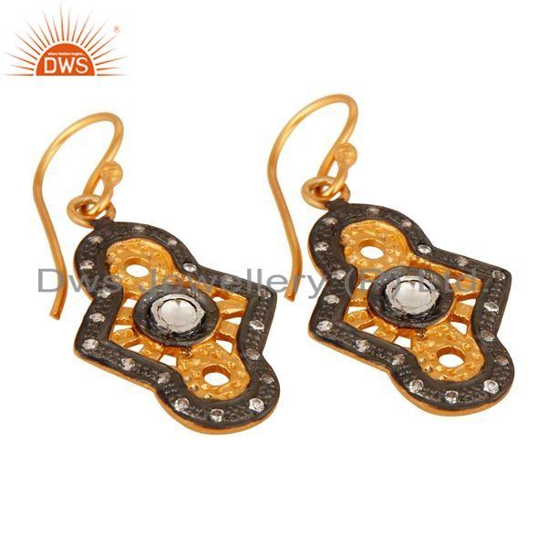 Exporter Designer Sterling Silver With Yellow Gold Plated Cubic Zirconia Earrings