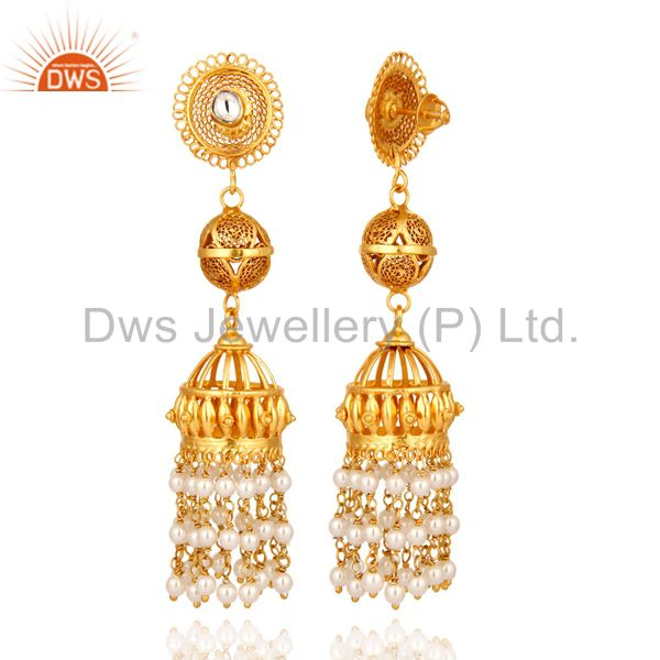 Exporter Tradional Handmade Sterling Silver Pearl Jhumka Hanging Earrings - Gold Plated