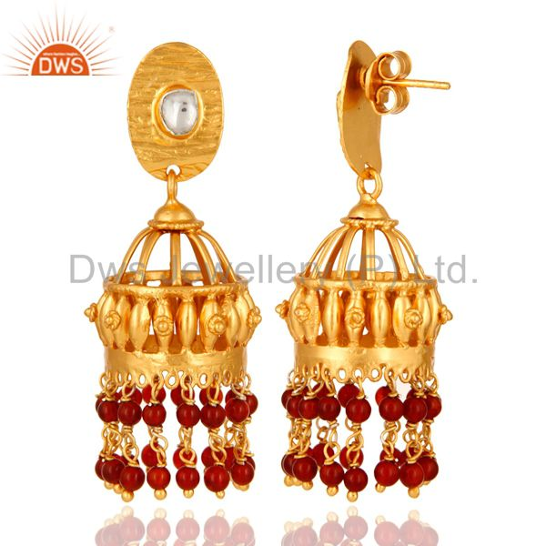 Exporter Red Onyx 925 Sterling Silver Jhumka Earrings For Teen Girls With Gold Plated