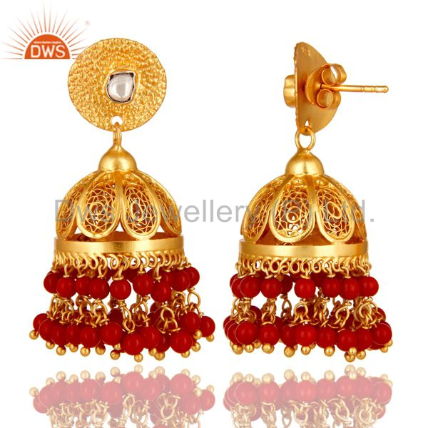 Exporter Coral Gemstone Event Wear Chandelier Earrings Made 14K Gold Over Sterling Silver