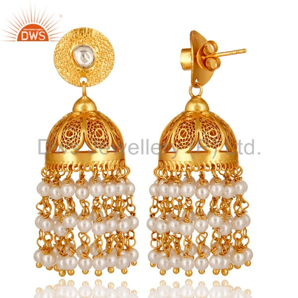 Exporter 18K Gold Plated Sterling Silver Pearl Designer South Indian Jhumka Earrings