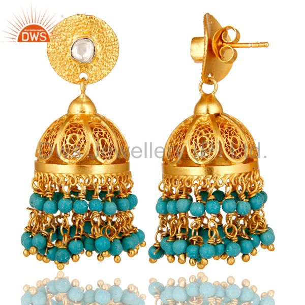 Exporter 22K Yellow Gold Plated Sterling Silver Crystal Polki & Turquoise Jhumka Earrings