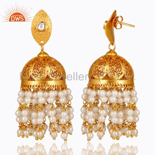 Exporter 22K Gold Plated Sterling Silver Pearl And Crystal Polki Designer Jhumka Earrings