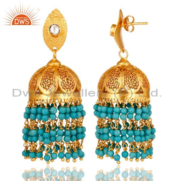 Exporter 22K Yellow Gold Plated Sterling Silver CZ Polki And Turquoise Jhumka Earrings