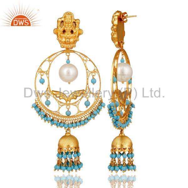 Exporter Pearl & Turquoise 14K Gold Plated Sterling Silver Temple Jewelry Jhumka Earring