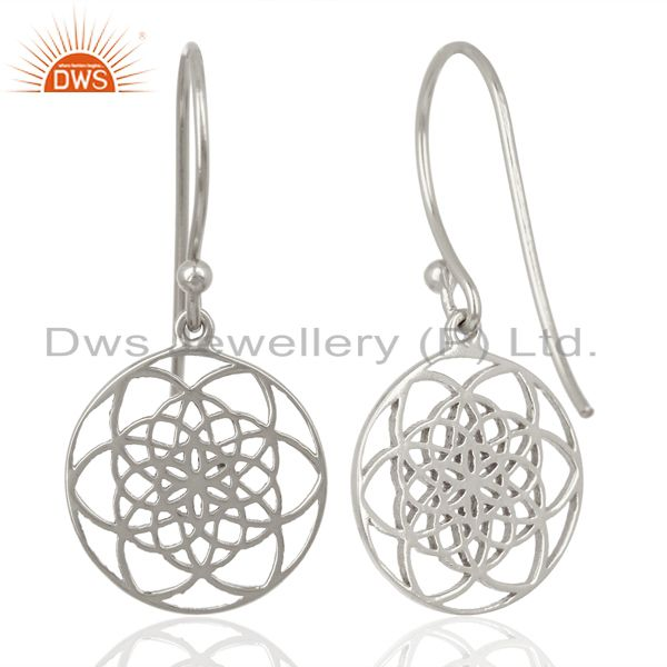 Exporter Flower of life Style 92.5 Sterling Silver White Rhodium Plated Dangle Earrings