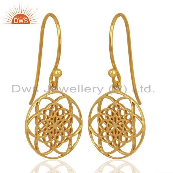 Exporter Flower of life Style 92.5 Sterling Silver 18K Gold Plated Dangle Earrings