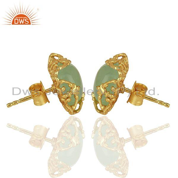 Exporter Best Selling Gold Plated 925 Silver Chalcedony Gemtone Stud Earrings
