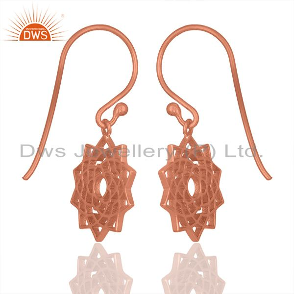 Exporter Rose Gold Plated 92.5 Sterling Silver Chakra Design Earrings Wholesale