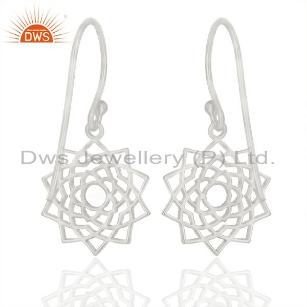 Exporter White Rhodium Plated Sterling Silver Chakra Design Drop Earring