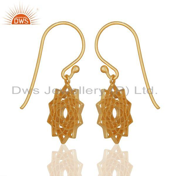 Exporter Chakra Design 925 Silver Gold Plated Indian Earrings Manufacturers