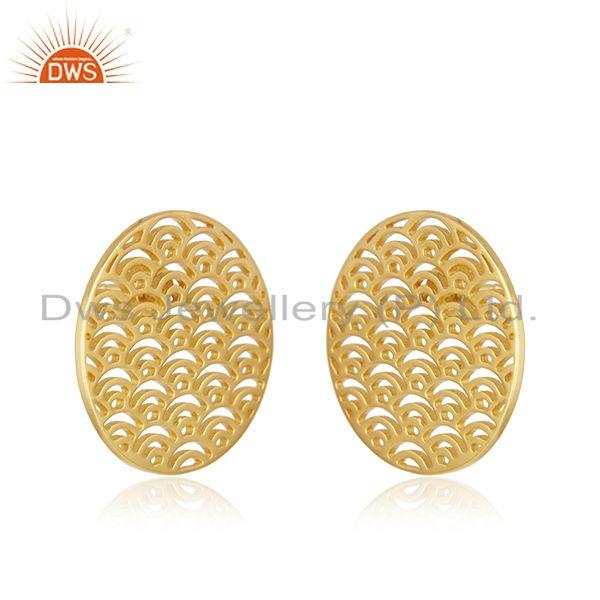 Exporter New Arrival Gold Plated Plain Sterling Silver Stud Earrings Wholesale