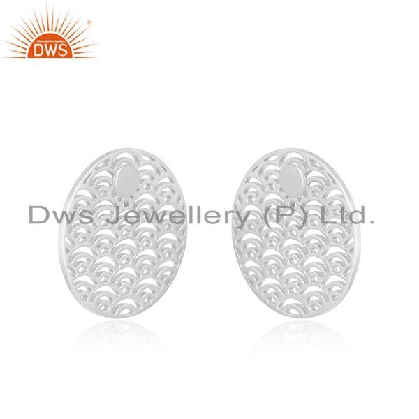 Exporter White Rhodium Plated Sterling Silver Unique Girls Stud Earring Jewelry