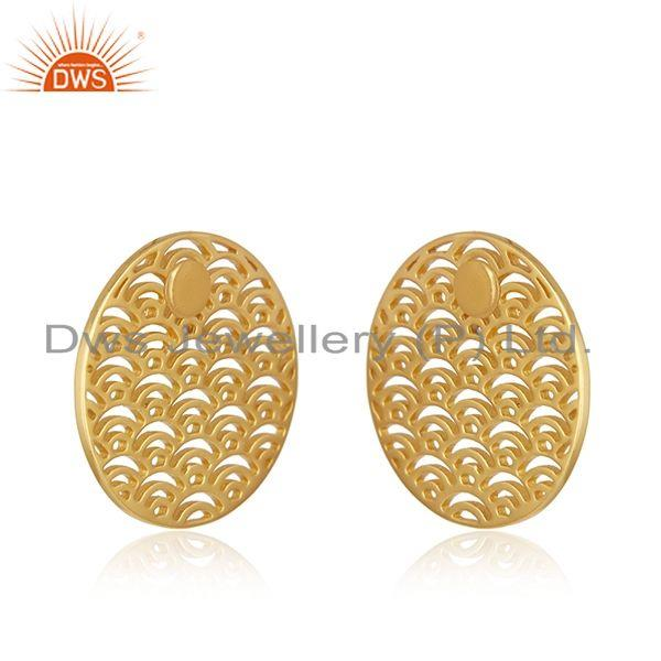 Exporter Yellow Gold Plated Sterling Silver Unique Girls Stud Earrings Jewelry