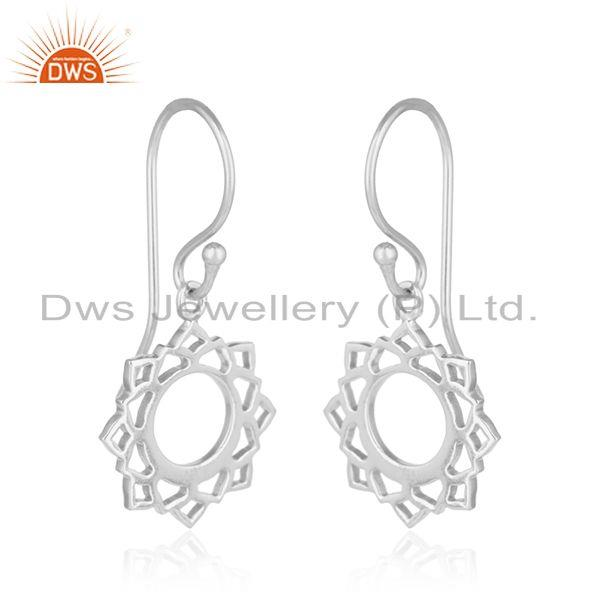 Exporter White Rhodium Plated Indian Vishuddha Chakra 925 Silver Earrings