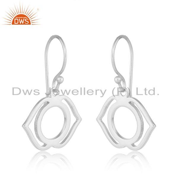 Exporter White Rhodium Plated Ajna Chakra Plain Silver Designer Earrings