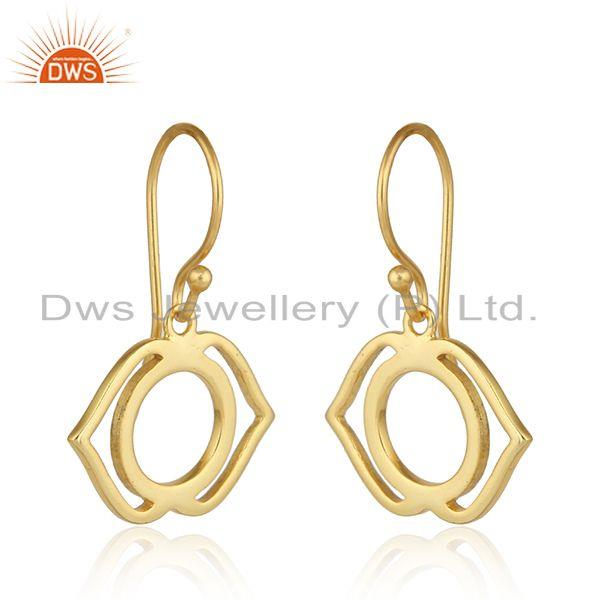 Exporter Yellow Gold Plated Designer Ajna Chakra Womens Silver Earrings