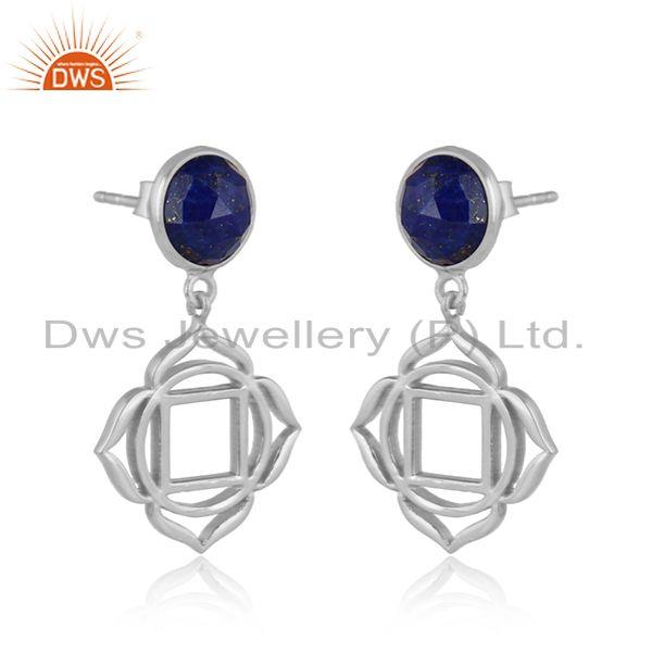 Holy root chakra earring in solid silver 925 with natural lapis