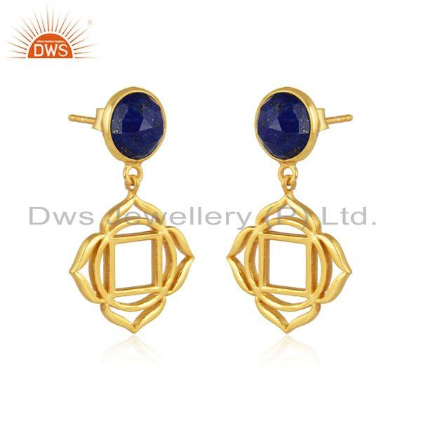 Holy root chakra earring in yellow gold on silver with lapis