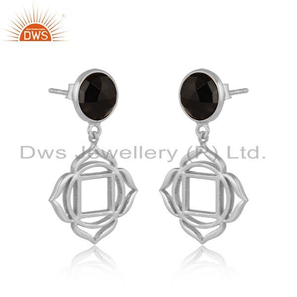 Holy root chakra earring in solid silver with natural black onyx