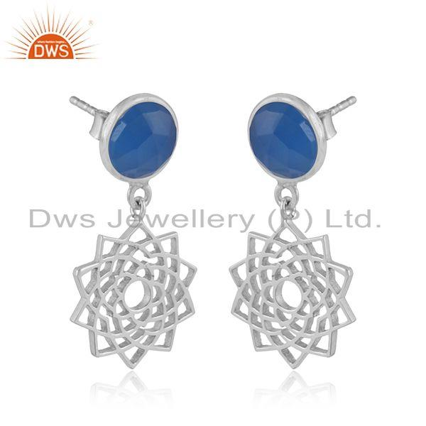Designer crown chakra earring in solid silver with blue chalcedony