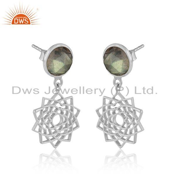 Designer crown chakra earring in solid silver with labradorite