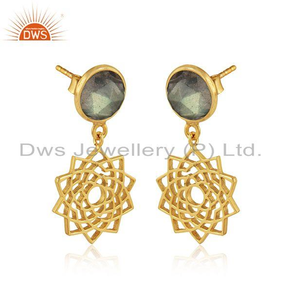 Crown chakra earring in yellow gold on silver 925 with labradorite