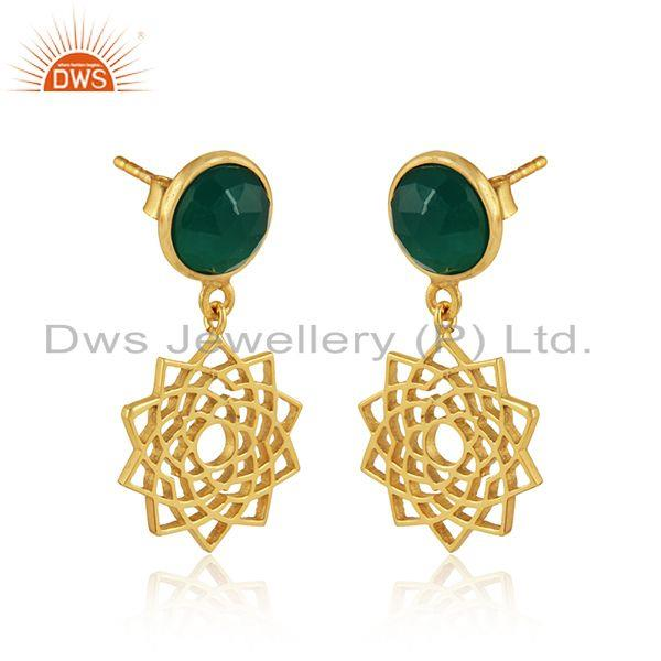 Crown chakra earring in yellow gold on silver with green onyx