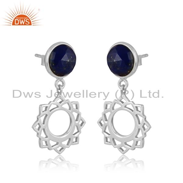 Designer heart chakra earring in silver 925 with lapis lazuli