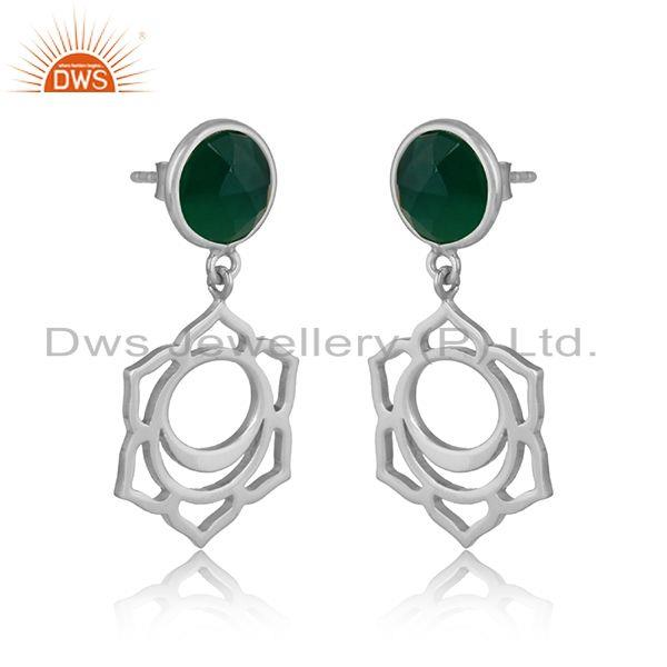 Designer sacral chakra dangle in silver 925 with green onyx