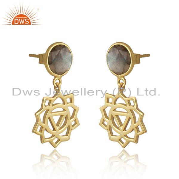 Manipura earring in yellow gold on silver 925 with labradorite