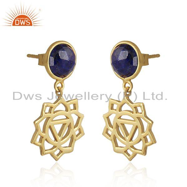 Solar plexus chakra earring in yellow gold on silver with lapis