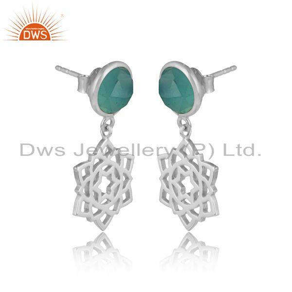 Designer anahata earring in solid silver 925 with aqua chalcedony