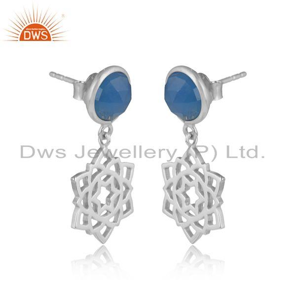 Designer anahata earring in solid silver 925 with blue chalcedony