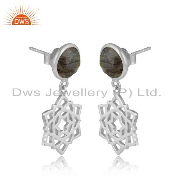 Designer anahata earring in solid silver 925 with labradorite